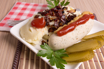 Bavarian or Munich sausage with mashed potatoes