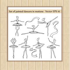 Vector set of painted cartoon dancers in motions