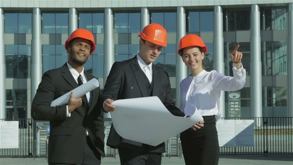 Best building ideas. Three confident business architect in prote
