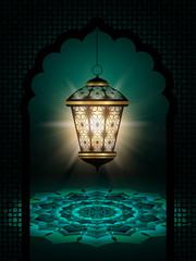 diwali lantern shining over dark background