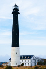 Lighthouse and visitor's house on Kuressaare island in Estonia
