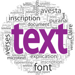 text concept in word tag cloud isolated