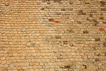 Rooftop tiles on old house