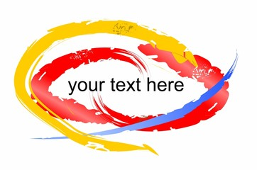 Grunge colorful brush strokes with a place for own text