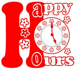 Happy hours pictogram in red color with clock face and flowers
