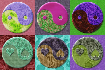 Set of Yin-yang symbol generated textures