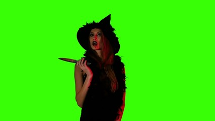 Halloween witch with a knife  on green screen