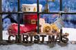 canvas print picture - Weihnachtsmann Stiefel vor dem Haus