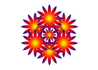 Узор с фиолетовой окантовкой в оранжево-желтых тонах