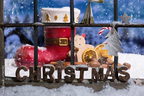 canvas print picture Weihnachtsmann Stiefel vor dem Haus