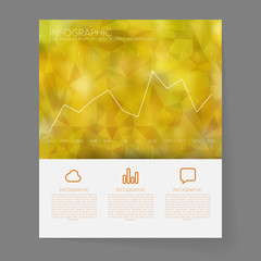 Infographic Line Graph Template on Blurred Background