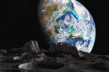 View from The moon orbit and rotating around the planet earth