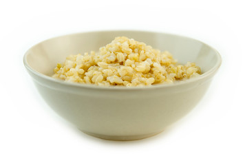 Cooked whole brown rice in a bowl