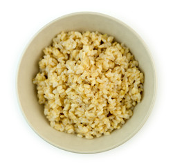 Overhead view of freshly cooked brown rice