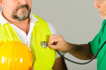 hard hat labor at medical doctor examination isolated
