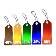 Vector illustration of color labels on a discount.