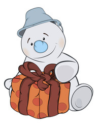 A Christmas snowman and a box cartoon