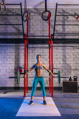 Barbell weight lifting woman weightlifting at gym