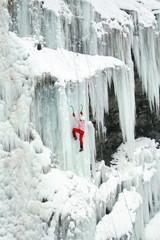 Ice climbing the waterfall.