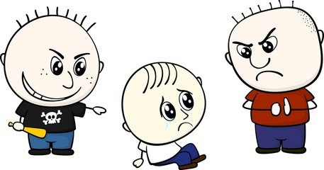 bullying little child illustration