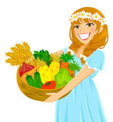 young girl holding a basket of fresh vegetables