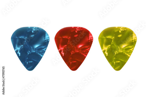 Guitar picks isolated on white - 71910765