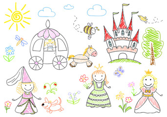 Sketches with happy princesses