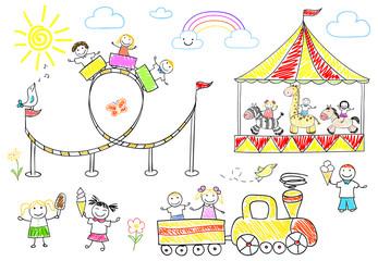 Happy children ride on the carousel