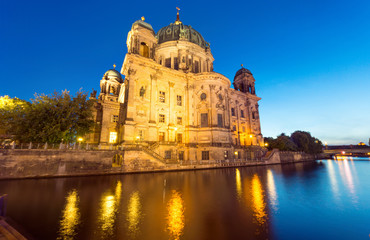 The back of the Dom in Berlin at night
