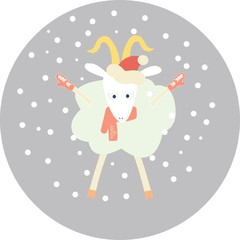 Christmas illustration with goat
