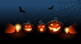 Illustration of five halloween pumpkins with candles poster