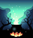 Illustration of Boiling Halloween cauldron