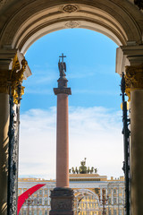 The Alexander Column on the Palace Square in Saint Petersburg