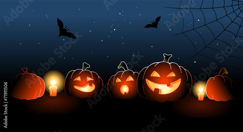Illustration of five halloween pumpkins with candles - 71911506