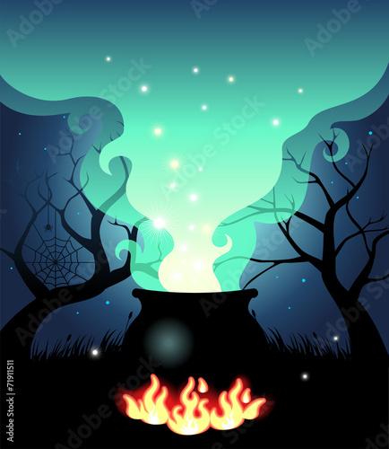 Illustration of Boiling Halloween cauldron - 71911511