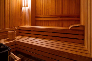 Sauna with bucket