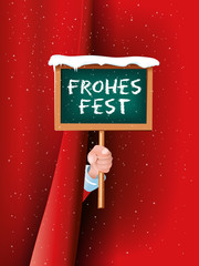 Weihnachtsmann Hand hält Schild Frohes Fest