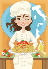 Chef Woman with Spaghetti