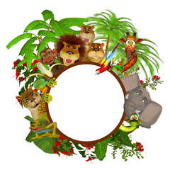 Animals cartoon frame