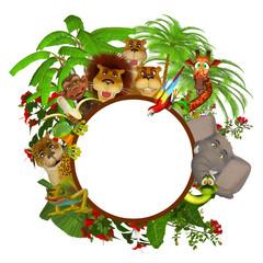 Animals cartoon frame