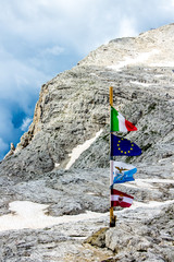 flag on the top of the mountain