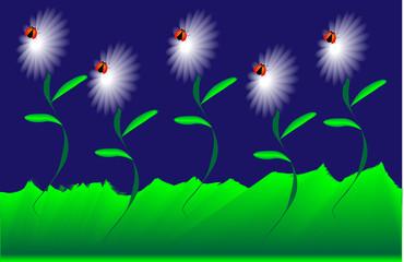 Fondo flores con mariquita