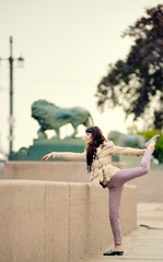 Ballet dancer posing in the city of St. Petersburg
