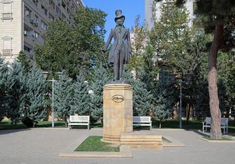 Monument of Russian poet Alexander Pushkin in Baku, Azerbaijan