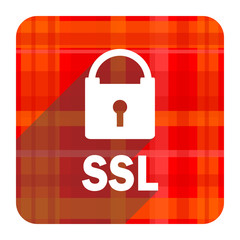 ssl red flat icon isolated