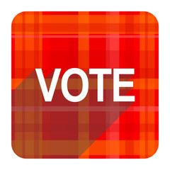 vote red flat icon isolated
