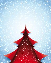 Weihnachtsbaum rot Papierecken mit Schnee