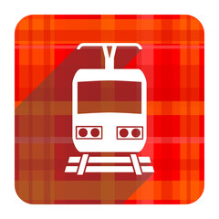 train red flat icon isolated