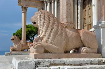 Leoni stilofori ingresso Duomo Ancona