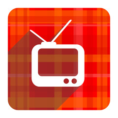 tv red flat icon isolated